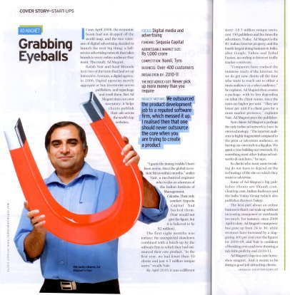 Ad Magnet CEO, Ratish Nair in India's Business Today magazine (June 27 edition).